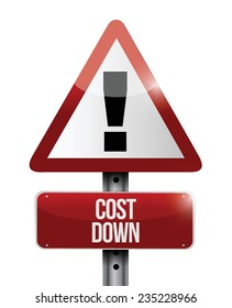 cost down warning sign illustration design over a white background