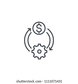 cost efficiency, optimization, money management line icon