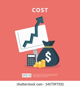 cost fee spending increase with arrow rising up growth diagram. business cash reduction concept. investment growth progress with calculator element in flat design vector illustration.