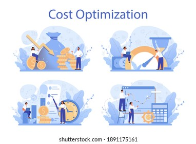 Cost optimization concept set. Idea of financial and marketing strategy. Cost and income balance. Spending and cost reduction, while maximizing business value. Isolated flat illustration vector