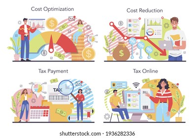 Cost optimization concept set. Idea of financial and marketing strategy.