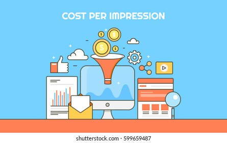 Cost per impression thin line vector banner, CPI with icons and elements