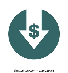 Cost reduction- decrease icon. Vector symbol image isolated on background .