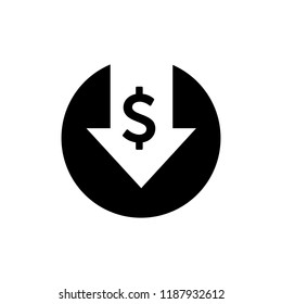 Cost reduction icon. Dollar Down Icon Vector. symbol for web site Computer and mobile vector.