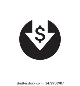 Cost reduction icon. Dollar Down Icon Vector.