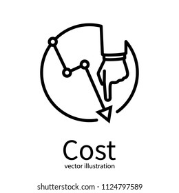 Cost reduction icon. Cost down concept. Businessman with hand lowers arrow of the graph. Vector illustration flat minimal line design. Isolated on background. Decrease down profit. Declining chart.