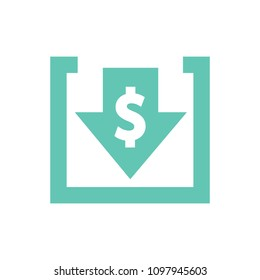 Cost reduction icon. Image isolated on white background. Vector illustration. Costs cut and financial optimization business concept. Descending arrow with dollar symbol. Business budget investments