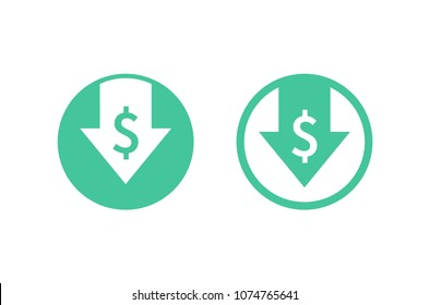 Cost reduction icon. Low cost. Image isolated on white background. Vector illustration