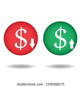 Cost reduction icon vector or low and high price outline icon flat sign symbols logo illustration isolated on white background.Concept for business dollar up or down.
