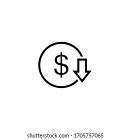cost reduction icon vector. Reduce costs sign and symbol vector design