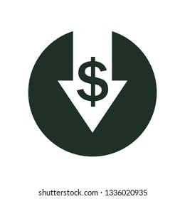 Cost reduction icon. Vector symbol image isolated on white background.Vector illustration. Flat design for business financial marketing banking advertising web concept cartoon illustration
