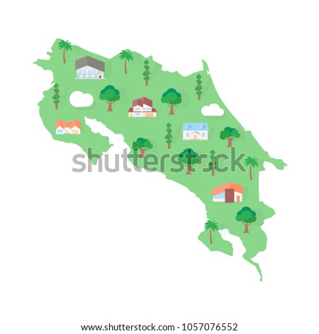 Costa Rica Usa Map.Costa Rica American Map Real Estate Stock Vector Royalty Free