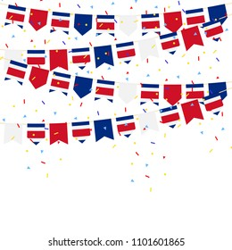 COSTA RICA bunting flags with Confetti And Ribbons on white background.vector illustration