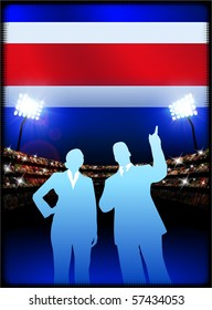 Costa Rica Flag with Business Couple on Stadium Background Original Illustration