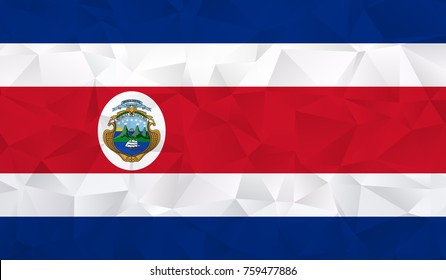 Costa rica flag - geometric rumpled triangular low poly style gradient graphic, polygonal design for your. Vector illustration eps 10.