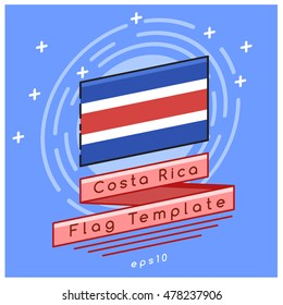 Costa Rica Flag  : Flag Icon With Festive Background : Vector Illustration