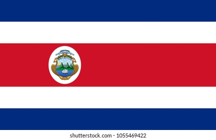 Costa Rica flag with official colors and the aspect ratio of 3:5. Flat vector illustration.