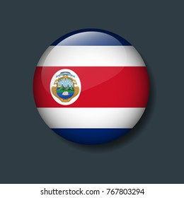 Costa rica Flag on 3D Button, National Football or Soccer team logo Concept.