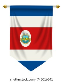 Costa Rica flag or pennant isolated on white