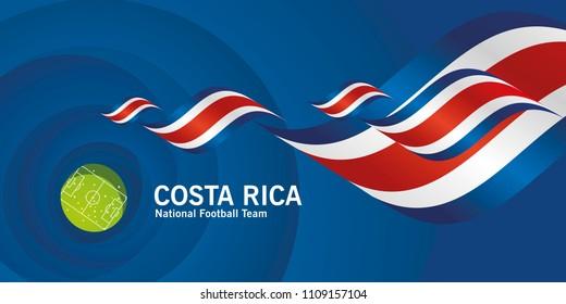 Costa Rica flag soccer football team abstact stadium background