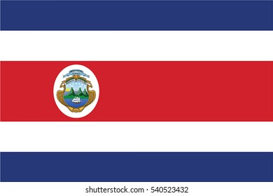 Costa Rica Flag. Vector Format