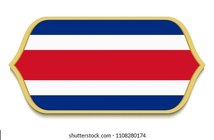 Costa Rica. Flat national flag icon button. Costa Rican symbol isolated on white background.