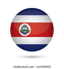 Costa Rica glossy round button. Vector Illustration EPS10.