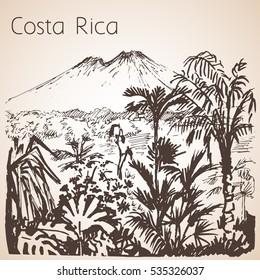 Costa Rica hand drawn landscape. Sketch. Isolated on white background