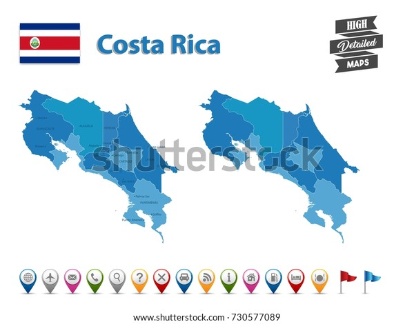 gps with costa rica maps Costa Rica High Detailed Map Gps Stock Vector Royalty Free 730577089 gps with costa rica maps