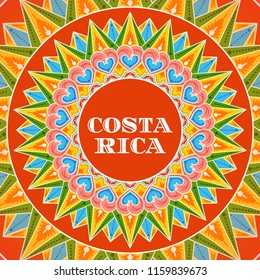 Costa Rica illustration vector. Traditional decorated coffee carreta ornament wheel pattern design for tourist postcard, resort banner or travel flyer.