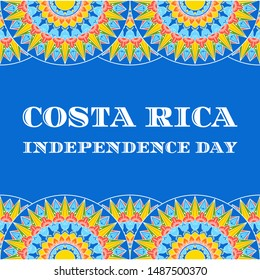 Costa Rica Independence Day illustration vector. Blue background with traditional ornament pattern from coffee ox cart wheel for carnival poster, card, banner or flyer design.