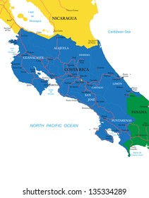 Costa Rica Political Map Images Stock Photos Vectors Shutterstock