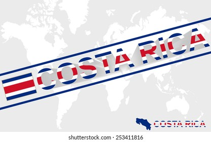 Costa Rica map flag and text illustration, on world map
