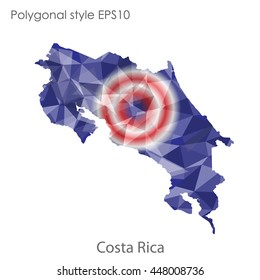 Costa Rica map in geometric polygonal style.Abstract gems triangle,modern design background.. Vector illustration EPS10