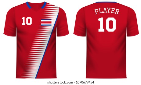 Costa Rica national soccer team shirt in generic country colors for fan apparel.