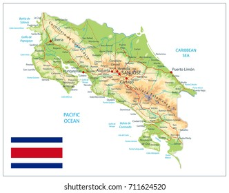 Costa Rica Physical Map Detailed Vector Stock Vector 711624493