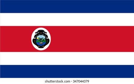 Costa Rica; Costa Rican; Caribbean Flag vector image
