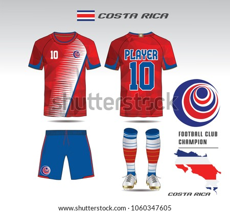 4a8a10af17f Costa rica soccer jersey or team apparel template. Mock up Football uniform  for football club. Red and Blue layout football sport t-shirt design. Vector  ...