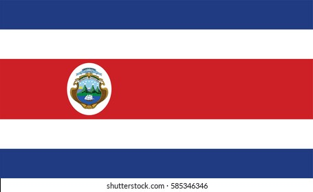 Costa Rica vector flag with coat of arms.