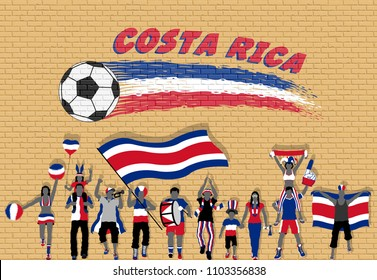 Costa Rican football fans cheering with Costa Rica flag colors in front of soccer ball graffiti. All the objects are in different layers and the text types do not need any font.