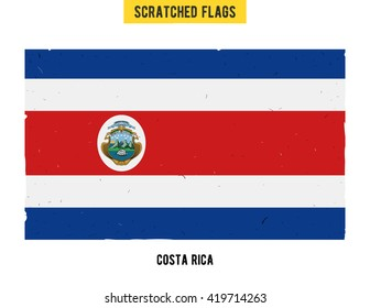 Costa Rican grunge flag with little scratches on surface. A hand drawn scratched flag of Costa Rica with a easy grunge texture. Vector modern flat design.