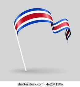 Costa Rican pin icon wavy flag. Vector illustration.