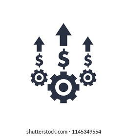 Costs optimization and production efficiency, cost management icon. Business efficiency and quality service concept with gears, dollar and arrow up. Production and management marketing icon. Price