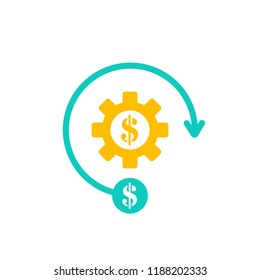 Costs optimization and production efficiency icon. Business efficiency and cost management icon