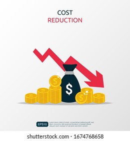 Costs reduction, costs cut, costs optimization business concept. Sack of money and coins with descending curve or arrow. vector illustration