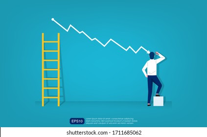 Costs reduction, costs cut, costs optimization business concept. Businessman draw simple graph with descending curve and ladder symbol. vector business illustration
