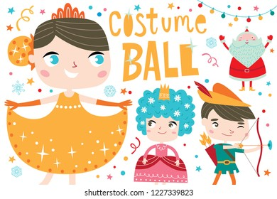 Costume ball invitation. Christmas costume party with Santa. Girls and boys wearing fairytale costumes. White background.