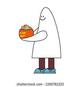 Costume Ghost and Pumpkin. Halloween spook vector illustration