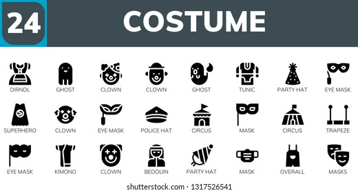 costume icon set. 24 filled costume icons.  Simple modern icons about  - Dirndl, Ghost, Clown, Tunic, Party hat, Eye mask, Superhero, Police hat, Circus, Mask, Trapeze, Kimono