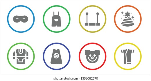 costume icon set. 8 filled costume icons.  Collection Of - Mask, Tunic, Overall, Superhero, Trapeze, Clown, Party hat, Kimono